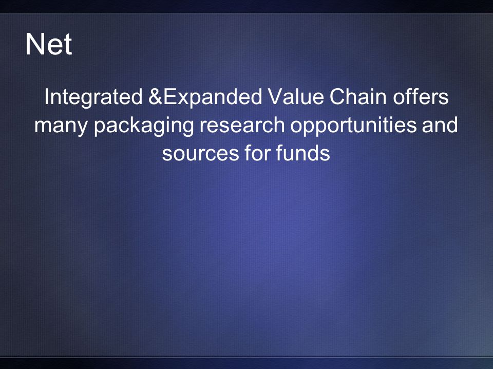 Net Integrated &Expanded Value Chain offers many packaging research opportunities and sources for funds