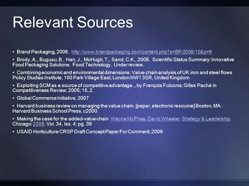Relevant Sources Brand Packaging, 2006.