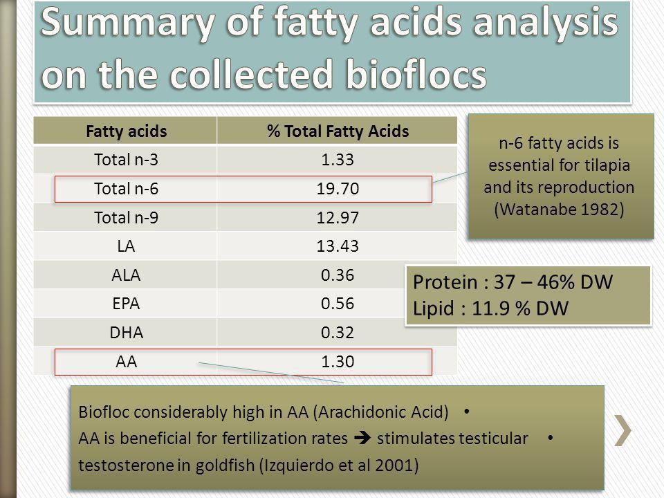 Fatty acids% Total Fatty Acids Total n-31.33 Total n-619.70 Total n-912.97 LA13.43 ALA0.36 EPA0.56 DHA0.32 AA1.30 n-6 fatty acids is essential for til