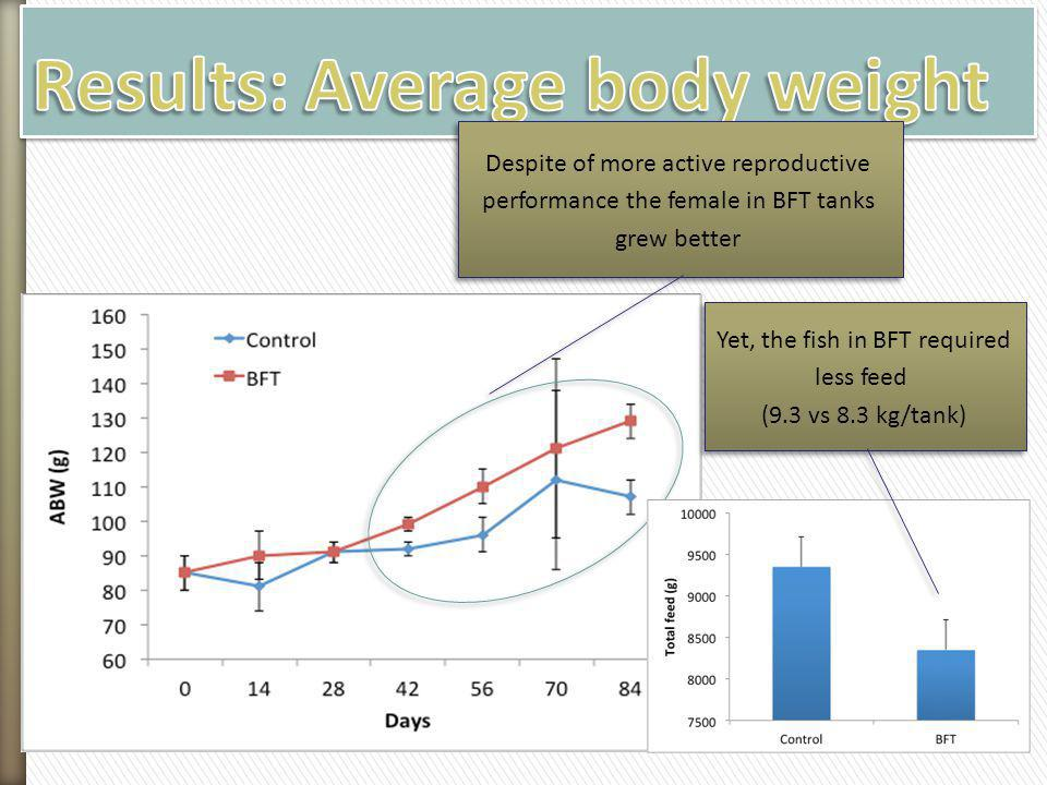 Despite of more active reproductive performance the female in BFT tanks grew better Yet, the fish in BFT required less feed (9.3 vs 8.3 kg/tank) Yet,