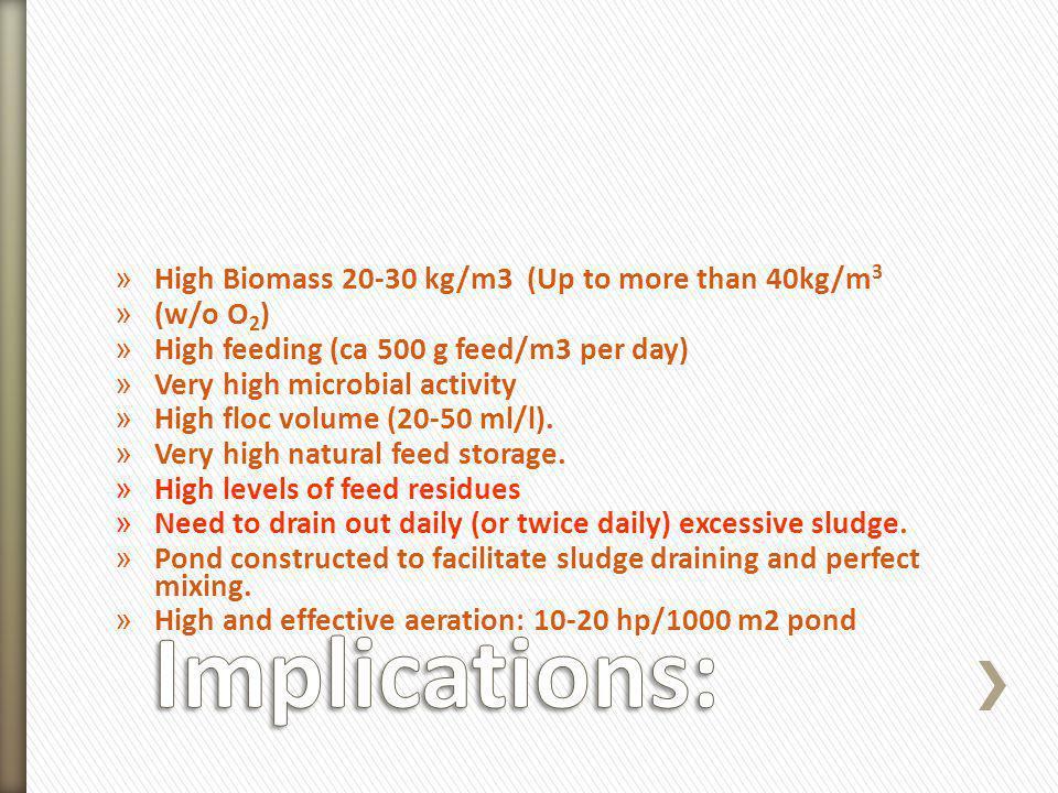 » High Biomass 20-30 kg/m3 (Up to more than 40kg/m 3 » (w/o O 2 ) » High feeding (ca 500 g feed/m3 per day) » Very high microbial activity » High floc