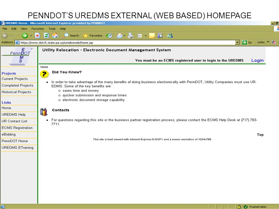 PENNDOTS UREDMS EXTERNAL (WEB BASED) HOMEPAGE