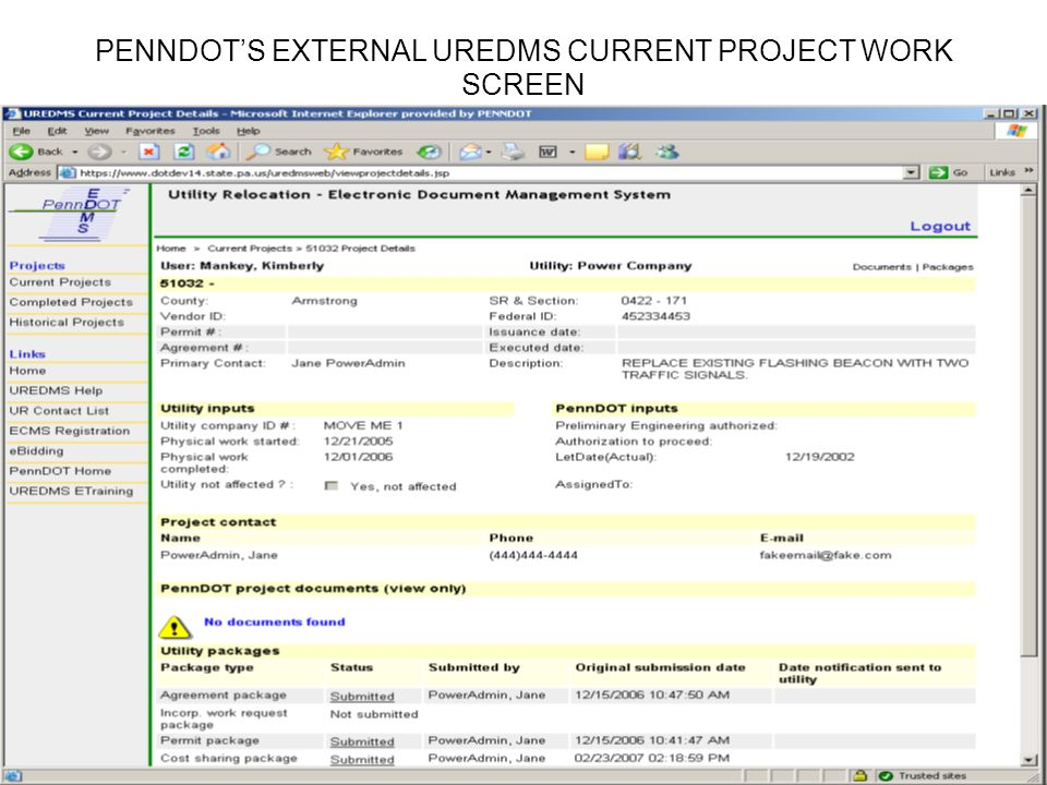 PENNDOTS EXTERNAL UREDMS CURRENT PROJECT WORK SCREEN