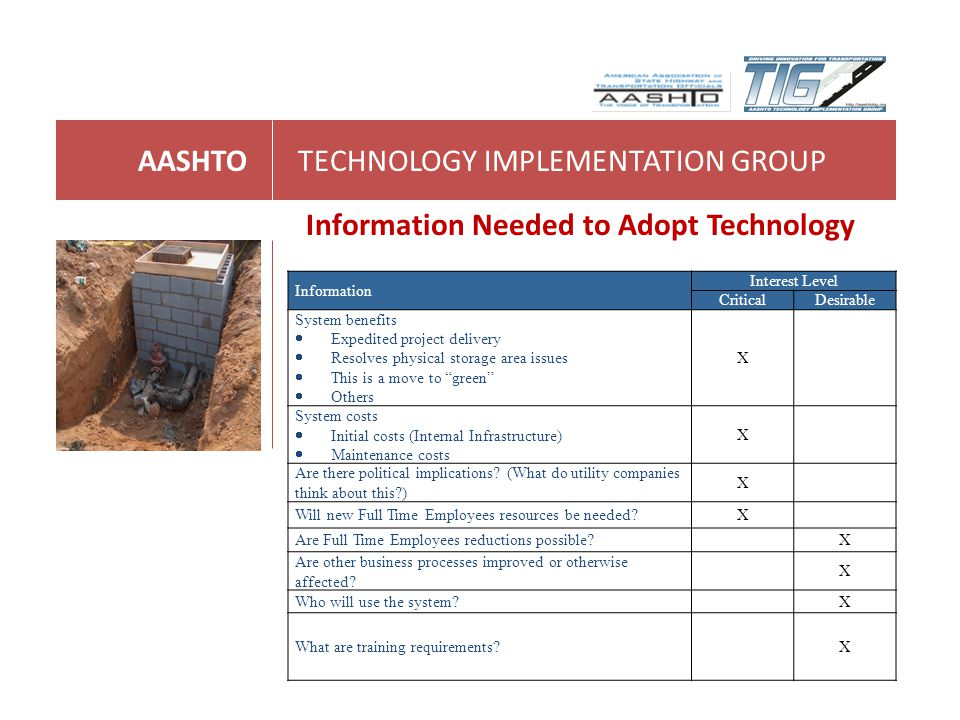 AASHTOTECHNOLOGY IMPLEMENTATION GROUP Information Needed to Adopt Technology Information Interest Level CriticalDesirable System benefits Expedited pr