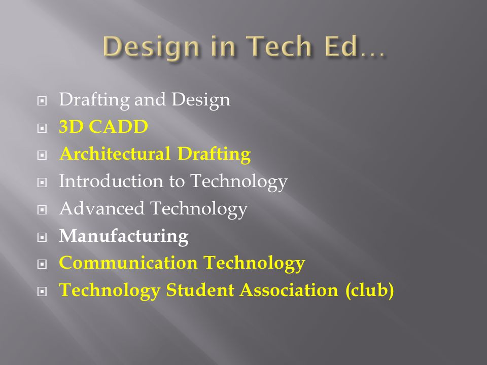Drafting and Design 3D CADD Architectural Drafting Introduction to Technology Advanced Technology Manufacturing Communication Technology Technology Student Association (club)