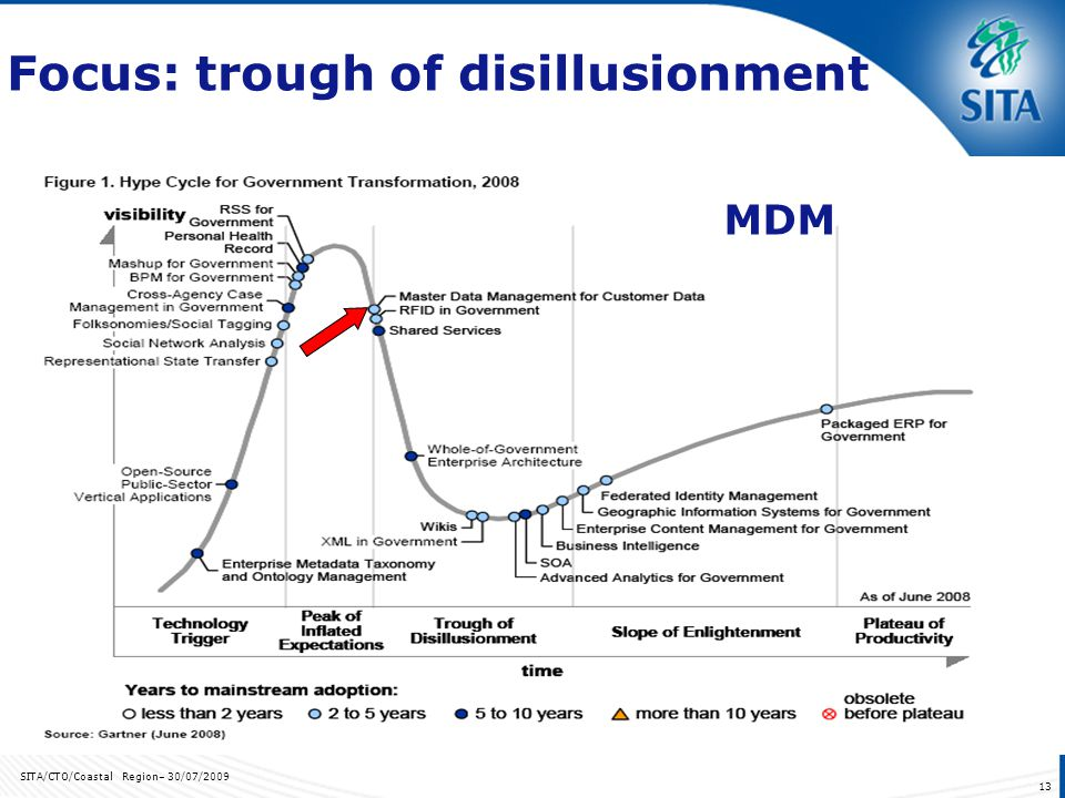 SITA/CTO/Coastal Region– 30/07/2009 13 Focus: trough of disillusionment MDM