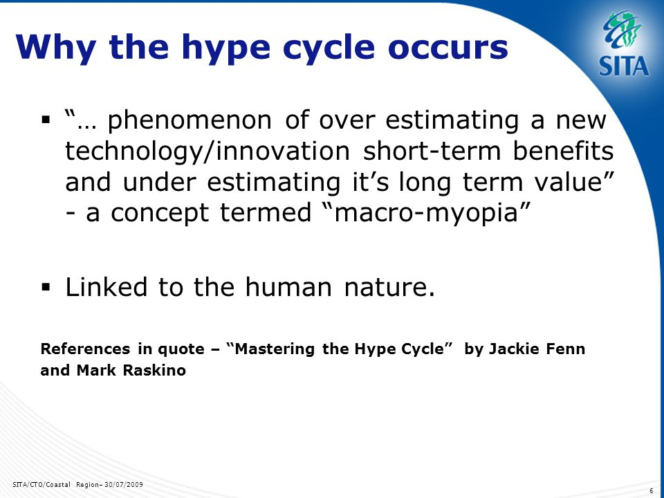 SITA/CTO/Coastal Region– 30/07/2009 27 How do we compare on the Hype Cycle.