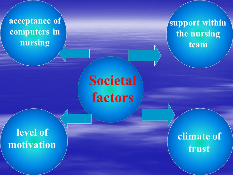 Societal factors support within the nursing team acceptance of computers in nursing level of motivation climate of trust