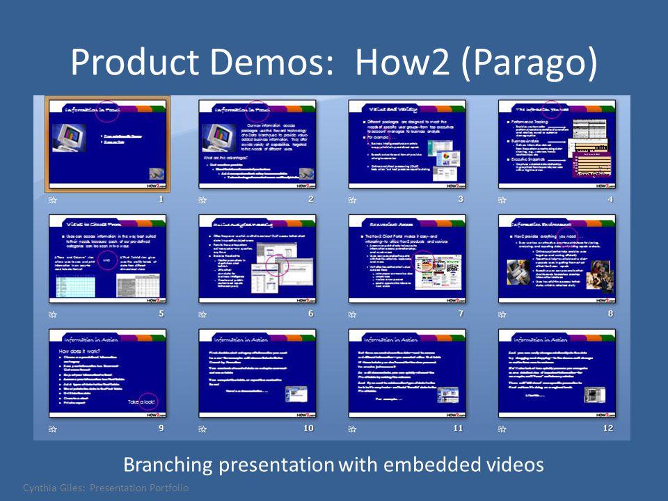 Product Demos: How2 (Parago) Branching presentation with embedded videos Cynthia Giles: Presentation Portfolio