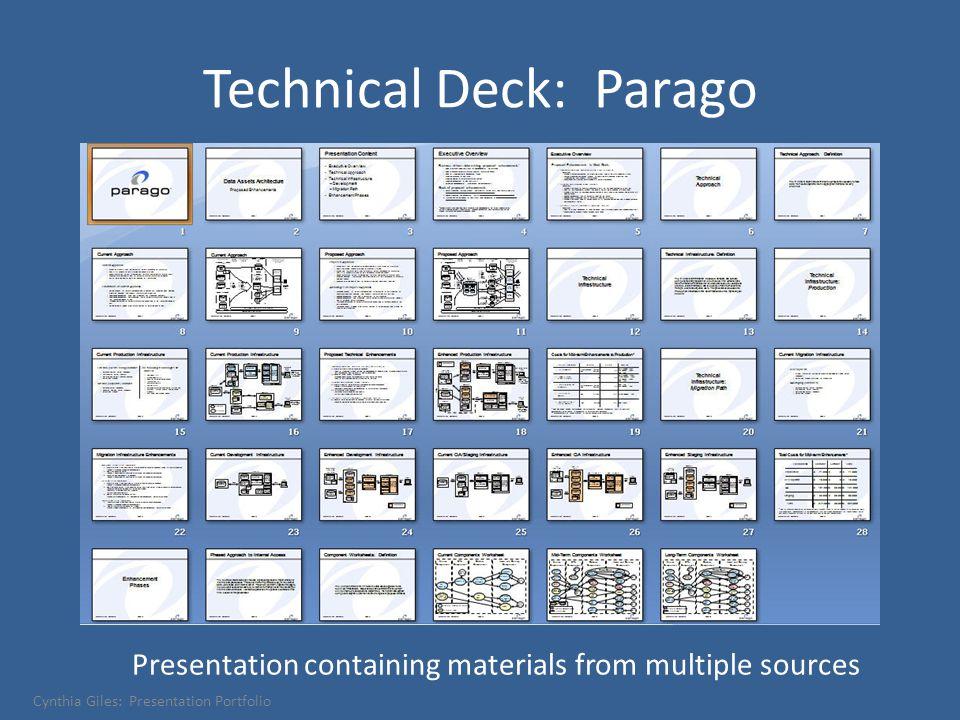 Technical Deck: Parago Presentation containing materials from multiple sources Cynthia Giles: Presentation Portfolio