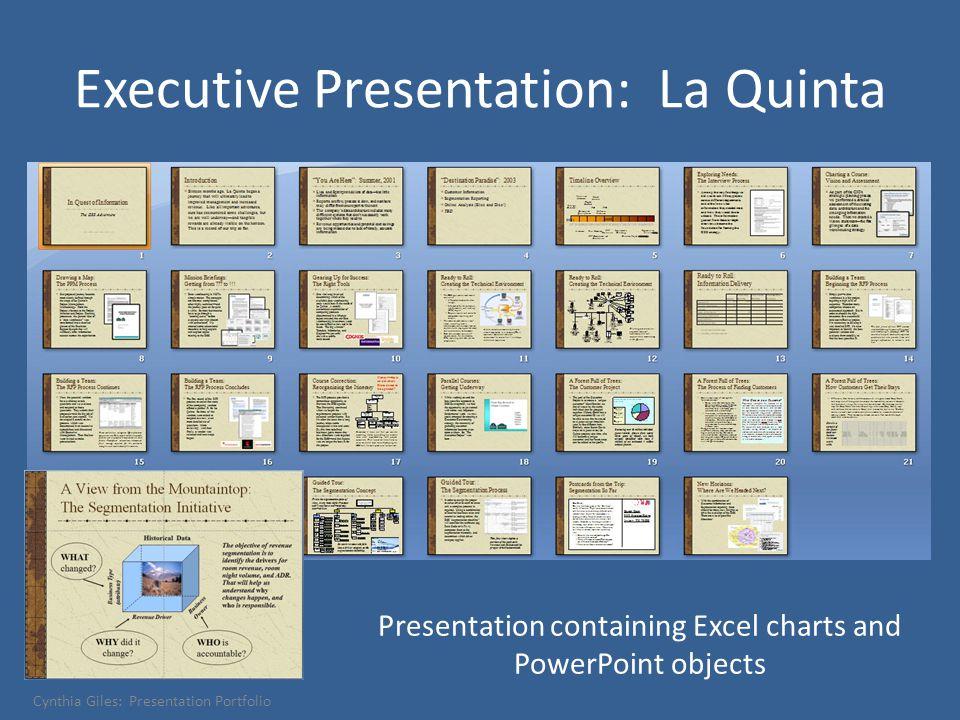 Executive Presentation: La Quinta Presentation containing Excel charts and PowerPoint objects Cynthia Giles: Presentation Portfolio