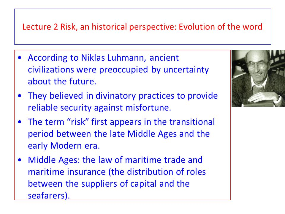 Lecture 2 Risk, an historical perspective: IT case study Without its scheduling system, an airline does not fly.