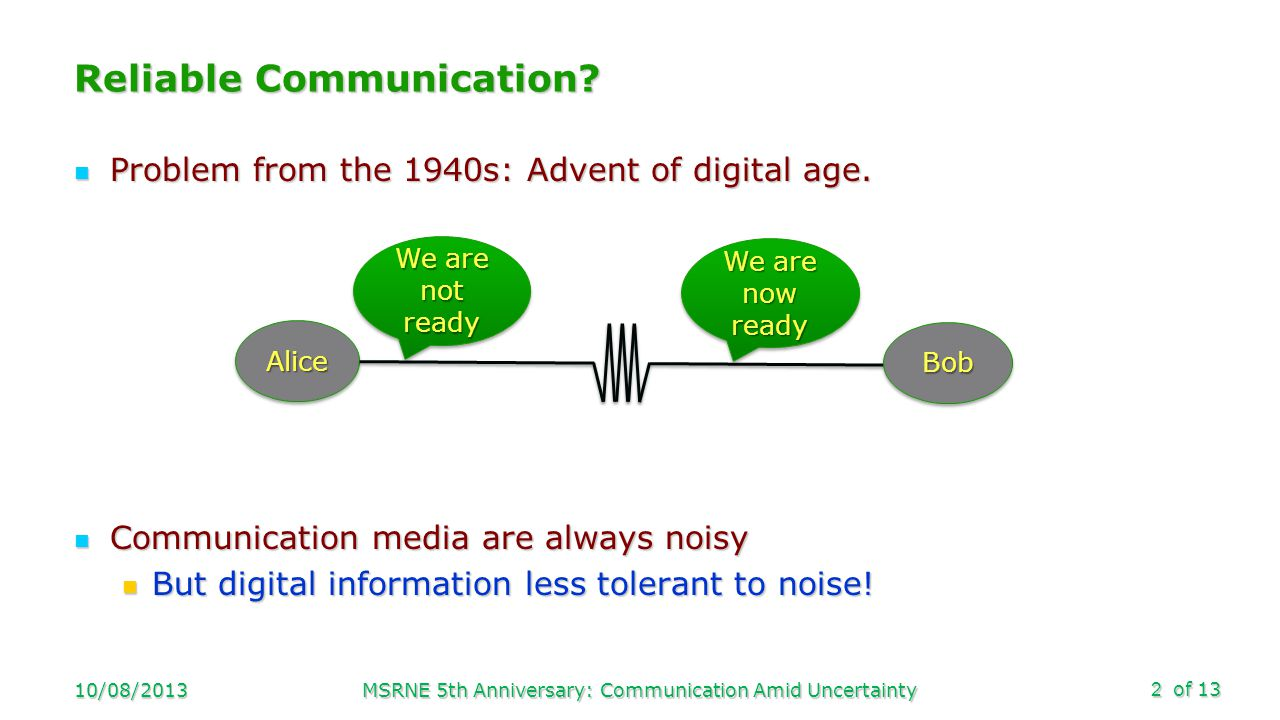 of 13 Reliable Communication? Problem from the 1940s: Advent of digital age. Problem from the 1940s: Advent of digital age. Communication media are al