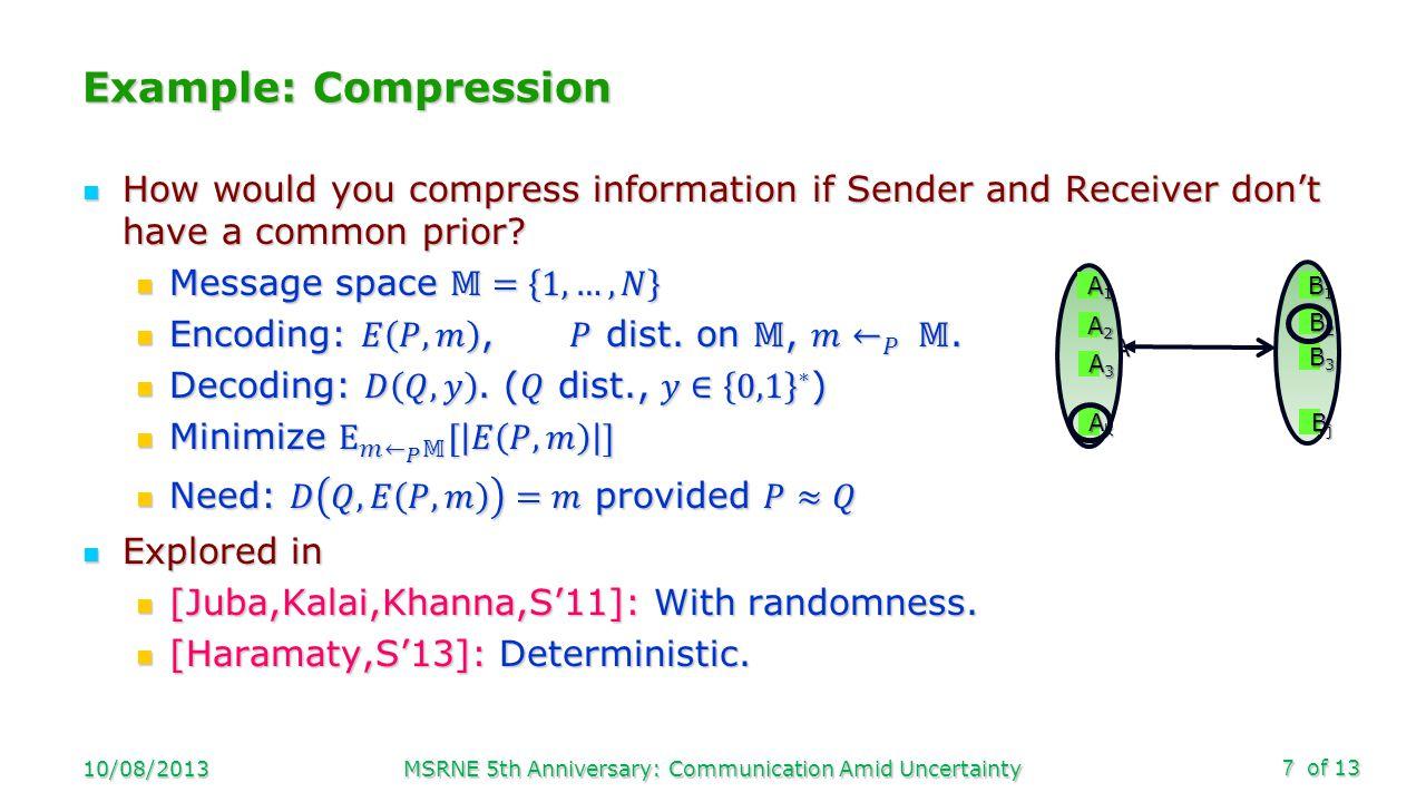 of 13 Example: Compression 10/08/2013MSRNE 5th Anniversary: Communication Amid Uncertainty7 A B B2B2B2B2 AkAkAkAk A3A3A3A3 A2A2A2A2 A1A1A1A1 B1B1B1B1 B3B3B3B3 BjBjBjBj