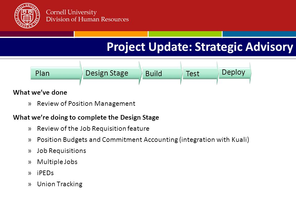 What weve done »Review of Position Management What were doing to complete the Design Stage »Review of the Job Requisition feature »Position Budgets and Commitment Accounting (integration with Kuali) »Job Requisitions »Multiple Jobs »iPEDs »Union Tracking Design Stage Deploy Plan Build Test Project Update: Strategic Advisory