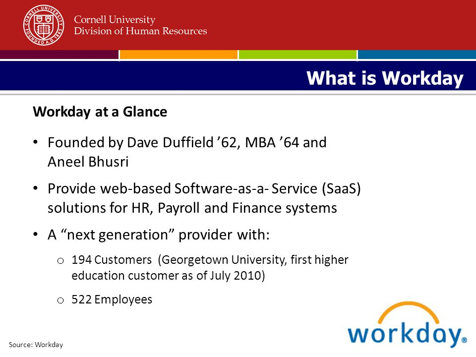 One HR/Payroll system to be integrated with Kuali, Taleo and various other Cornell systems (including other existing PeopleSoft applications) Why Workday Source: Workday Data access … Aligned systems … Less transaction time 1