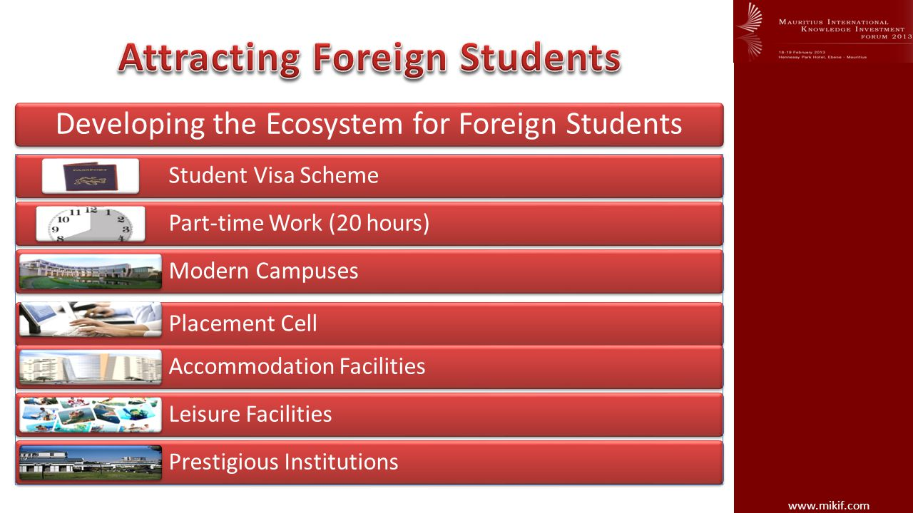 Student Visa Scheme Part-time Work (20 hours) Modern Campuses Placement Cell Accommodation Facilities Leisure Facilities Prestigious Institutions Developing the Ecosystem for Foreign Students