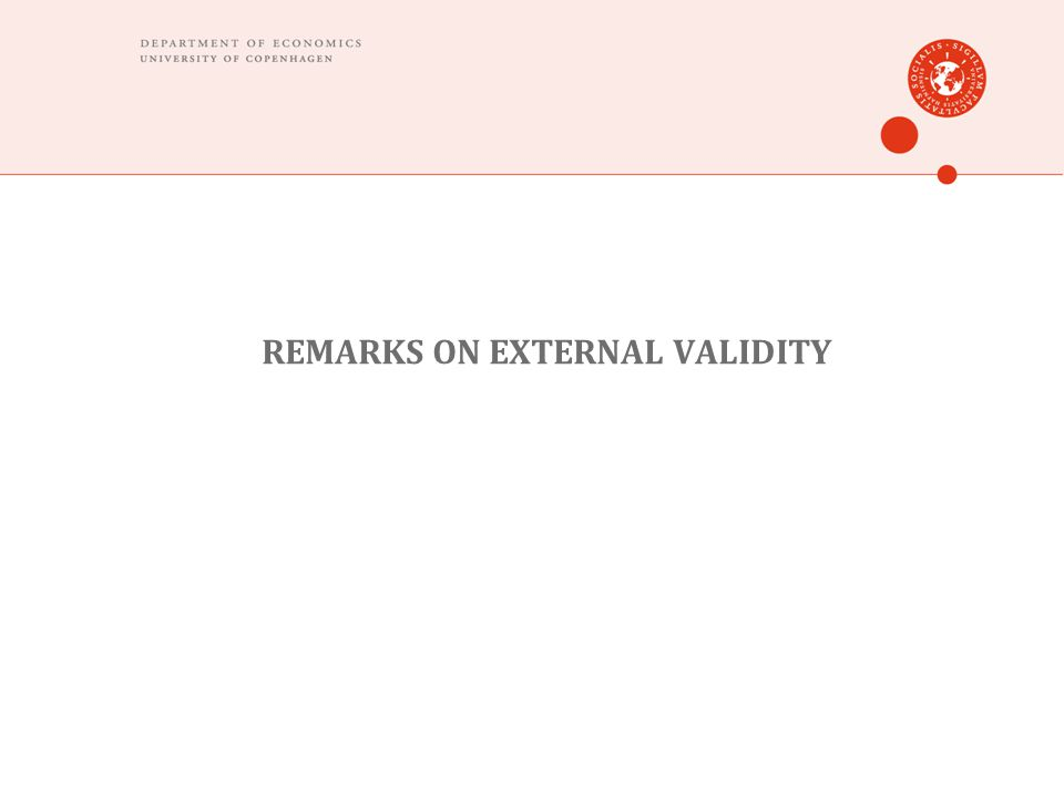 REMARKS ON EXTERNAL VALIDITY