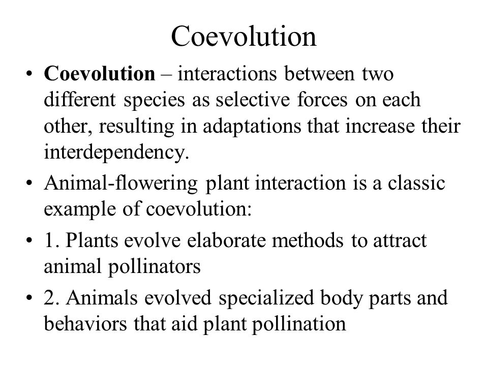 Coevolution Coevolution – interactions between two different species as selective forces on each other, resulting in adaptations that increase their i