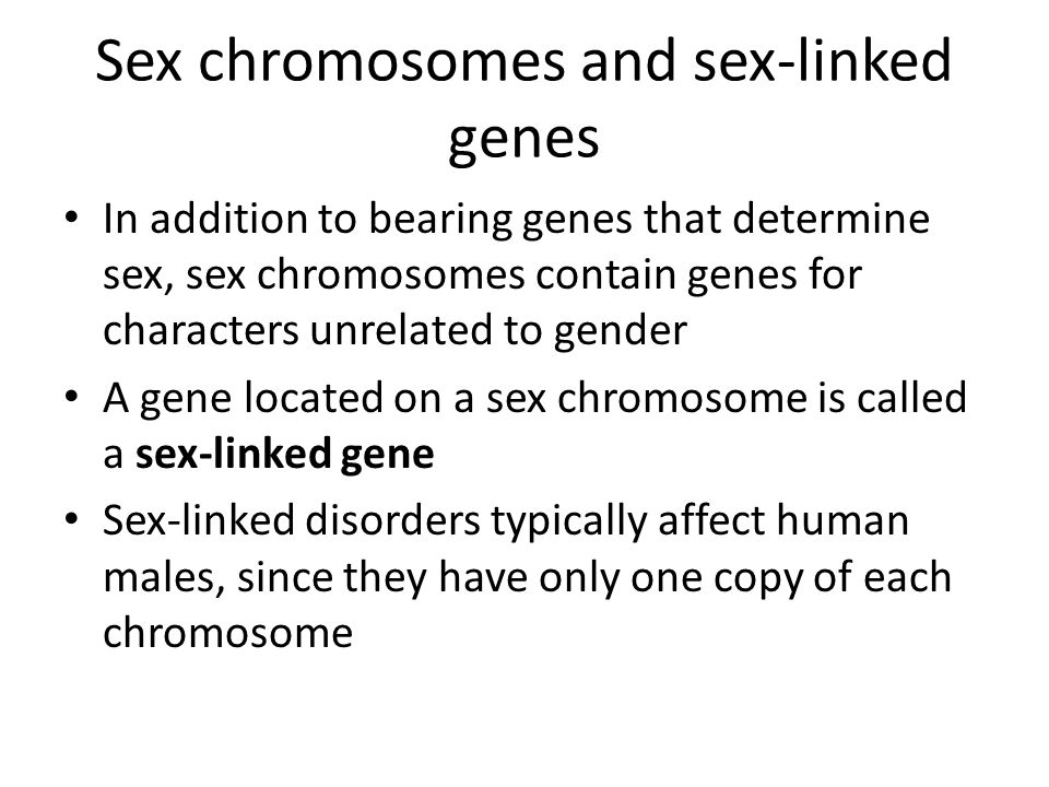 Sex chromosomes and sex-linked genes In addition to bearing genes that determine sex, sex chromosomes contain genes for characters unrelated to gender