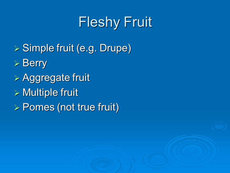 Fleshy Fruit Simple fruit (e.g. Drupe) Simple fruit (e.g. Drupe) Berry Berry Aggregate fruit Aggregate fruit Multiple fruit Multiple fruit Pomes (not