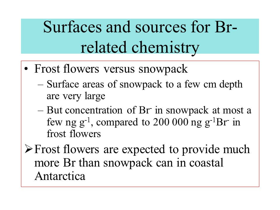 Further study is needed but it seems probable that frost flowers provide by far the biggest surface area of available Br - Enhanced filterable Br and low-level tropospheric ozone loss episodes are compatible with the episodic (few days) nature of frost flowers