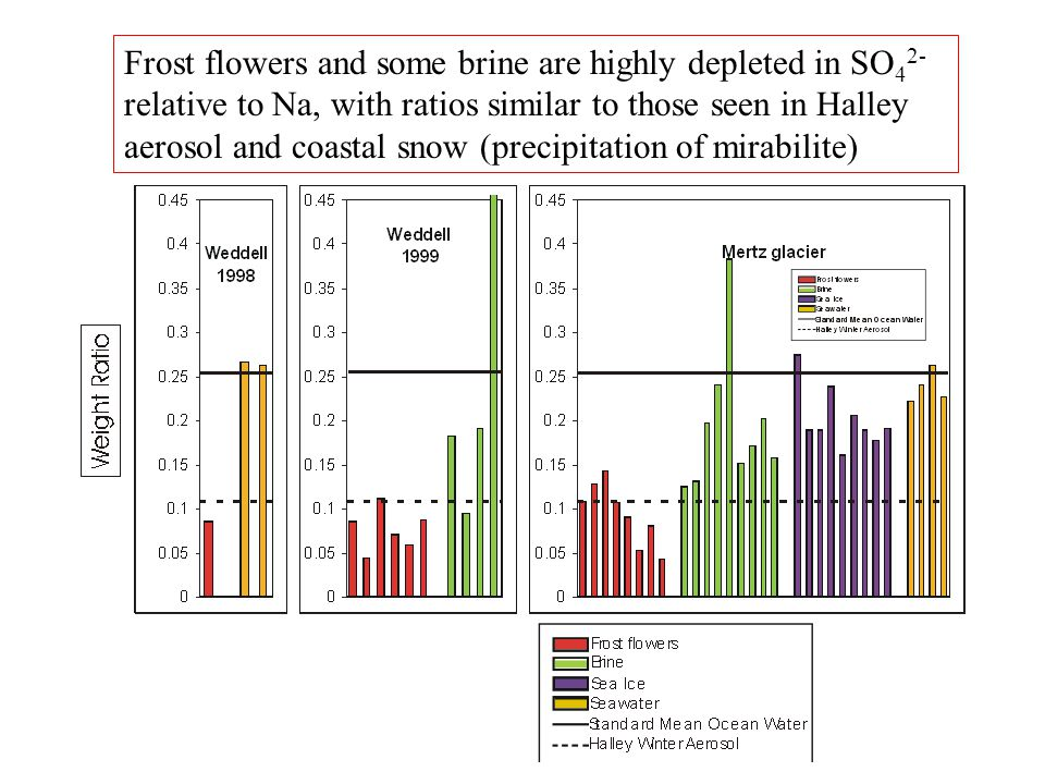 At Halley, all episodes of salty aerosol, depleted in sulfate, are associated with frost flowers; but this is not a sufficient condition Each vertical bar represents one aerosol filter; grey ones are significantly depleted in sulfate.