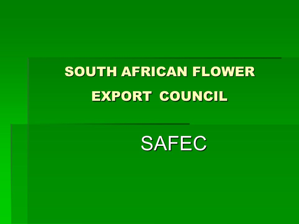 SAFEC South Africa is very rich in natural flora and as such has a very active cut flower industry South Africa is very rich in natural flora and as such has a very active cut flower industry Indigenous and exotic flowers are produced for both local and overseas markets Indigenous and exotic flowers are produced for both local and overseas markets