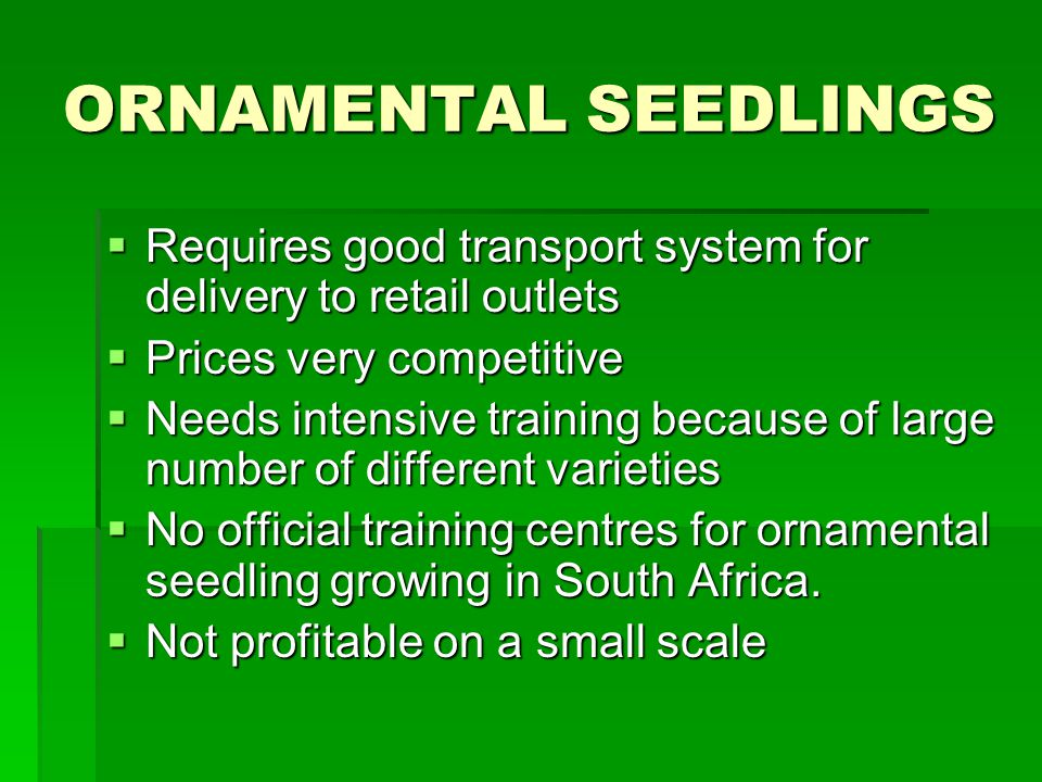 ORNAMENTAL SEEDLINGS Requires good transport system for delivery to retail outlets Requires good transport system for delivery to retail outlets Prices very competitive Prices very competitive Needs intensive training because of large number of different varieties Needs intensive training because of large number of different varieties No official training centres for ornamental seedling growing in South Africa.