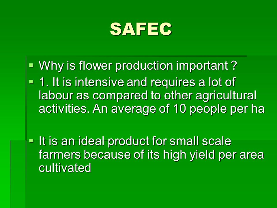 SAFEC Why is flower production important . Why is flower production important .