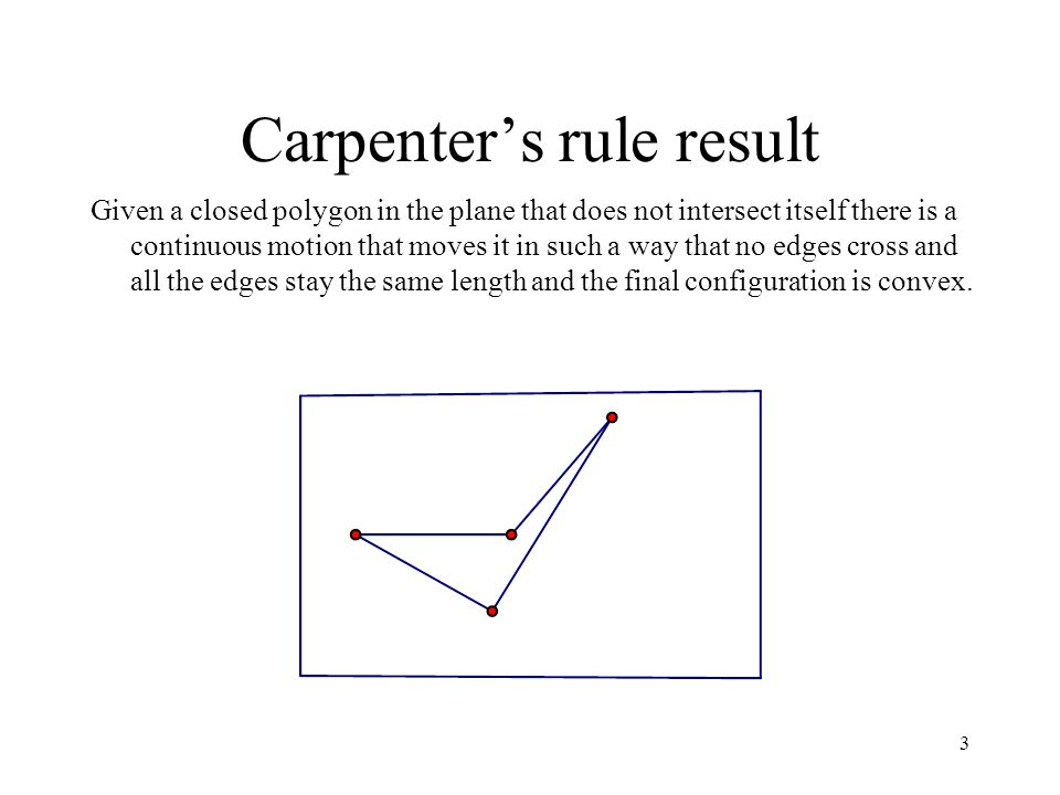 3 Carpenters rule result Given a closed polygon in the plane that does not intersect itself there is a continuous motion that moves it in such a way that no edges cross and all the edges stay the same length and the final configuration is convex.