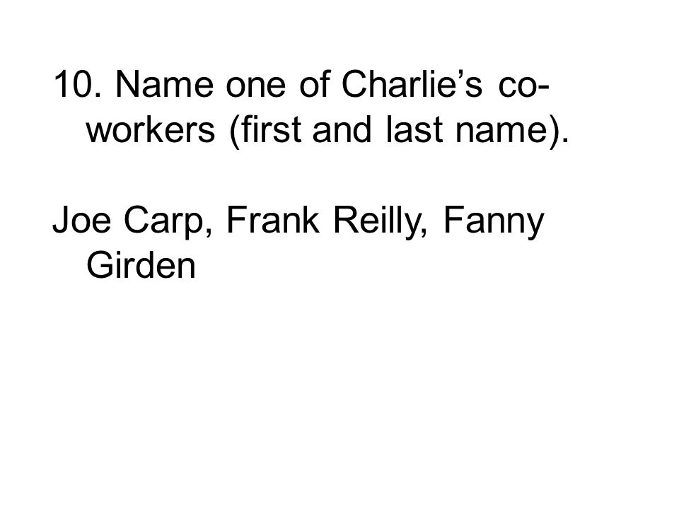 Joe Carp, Frank Reilly, Fanny Girden