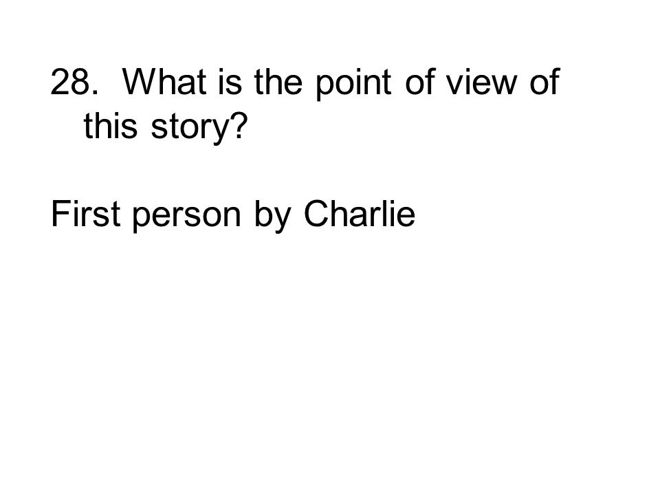 First person by Charlie