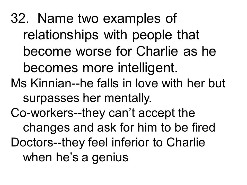 Ms Kinnian--he falls in love with her but surpasses her mentally. Co-workers--they cant accept the changes and ask for him to be fired Doctors--they f
