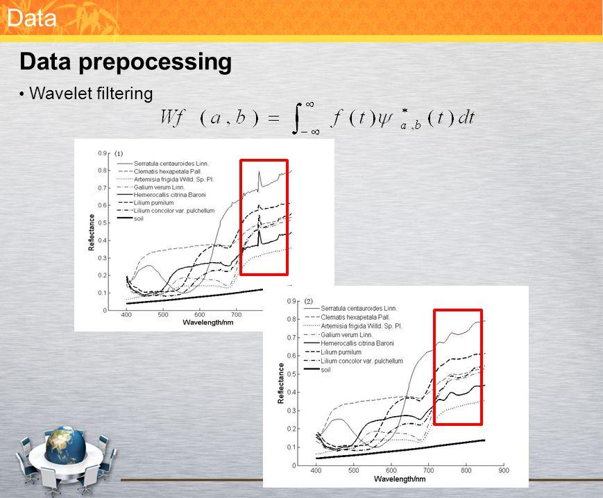 Data Data prepocessing Wavelet filtering