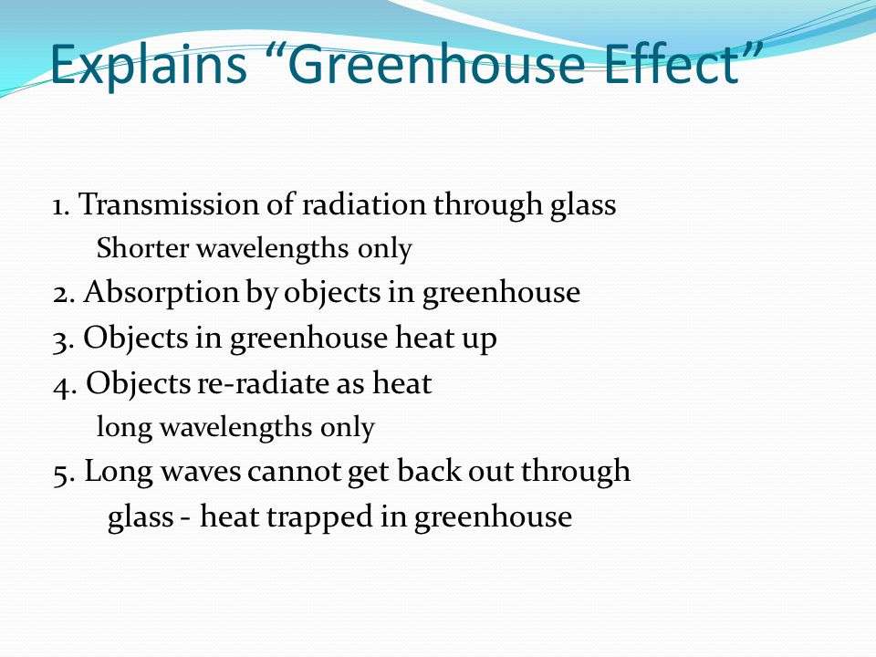 Explains Greenhouse Effect 1.Transmission of radiation through glass Shorter wavelengths only 2.