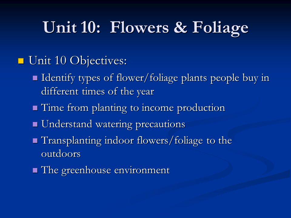 Unit 10: Flowers & Foliage No homework on this unit.