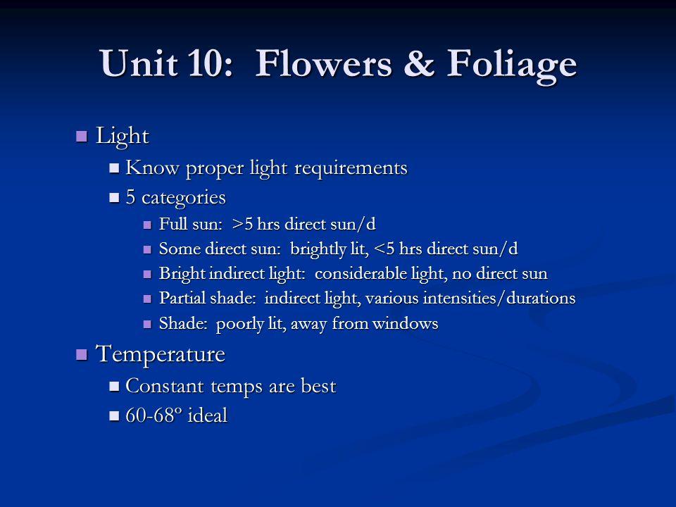 Unit 10: Flowers & Foliage Light Light Know proper light requirements Know proper light requirements 5 categories 5 categories Full sun: >5 hrs direct
