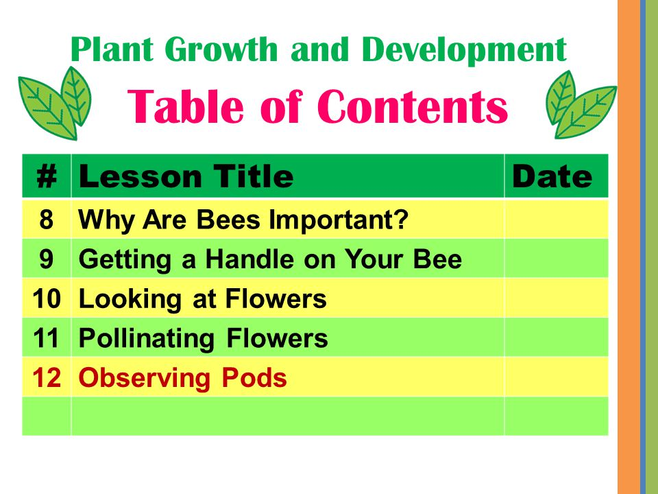 Plant Growth and Development Table of Contents #Lesson TitleDate 8Why Are Bees Important.