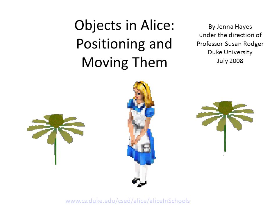 Download the Alice World that goes along with this tutorial.