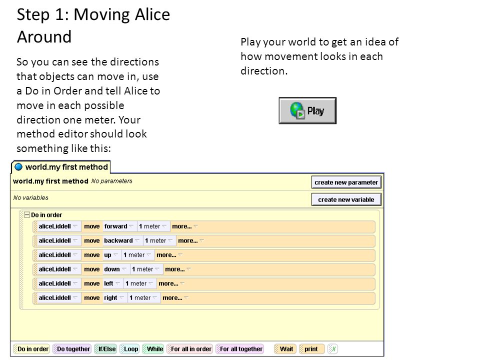 Play your world, and Alice and the flower should move perfectly in sync with each other.