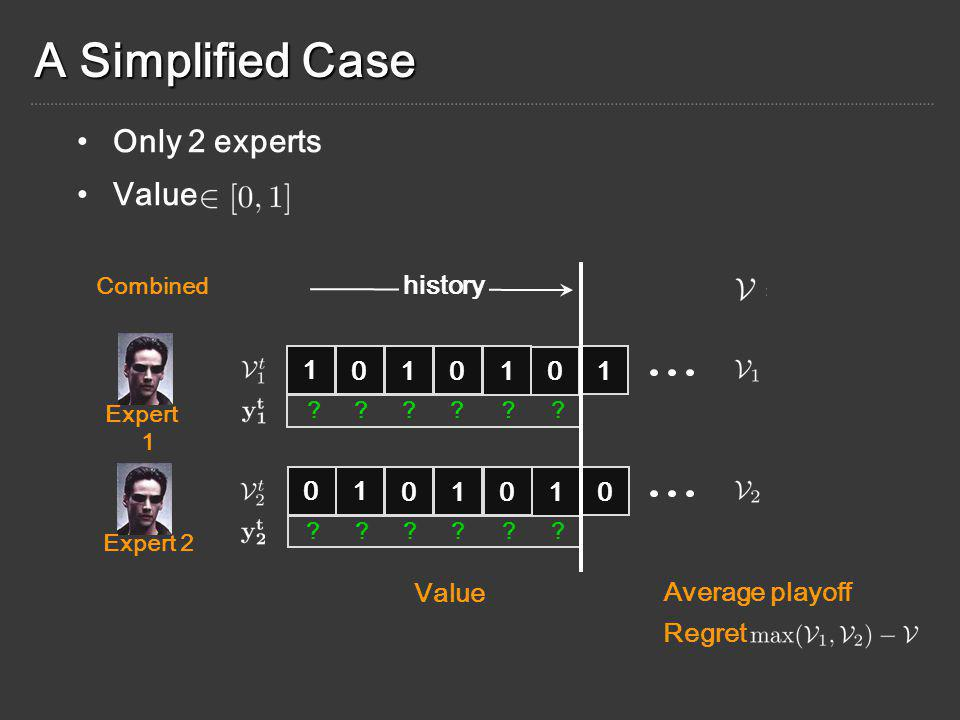 A Simplified Case Expert 1 Expert 2 Combined Value Average playoff Regret 1 0 10 1 0 1 history ??.