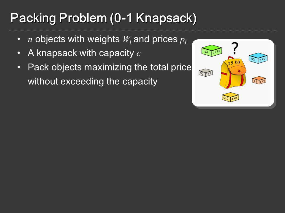 Packing Problem (0-1 Knapsack) n objects with weights W i and prices p i A knapsack with capacity c Pack objects maximizing the total price without exceeding the capacity