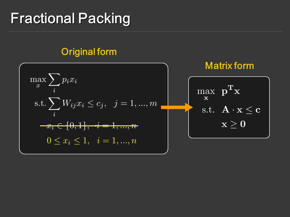 Fractional Packing Matrix form Original form