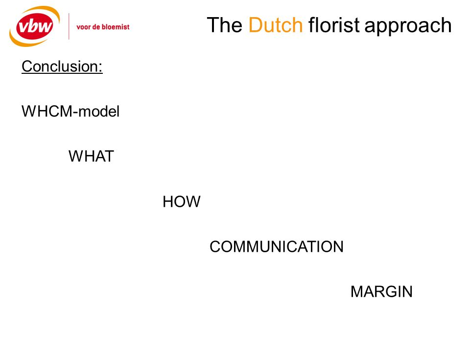 The Dutch florist approach Conclusion: WHCM-model WHAT HOW COMMUNICATION MARGIN