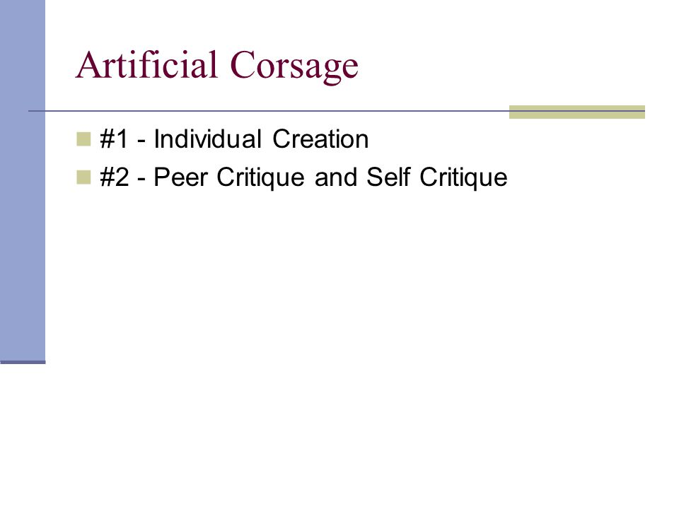 Artificial Corsage #1 - Individual Creation #2 - Peer Critique and Self Critique