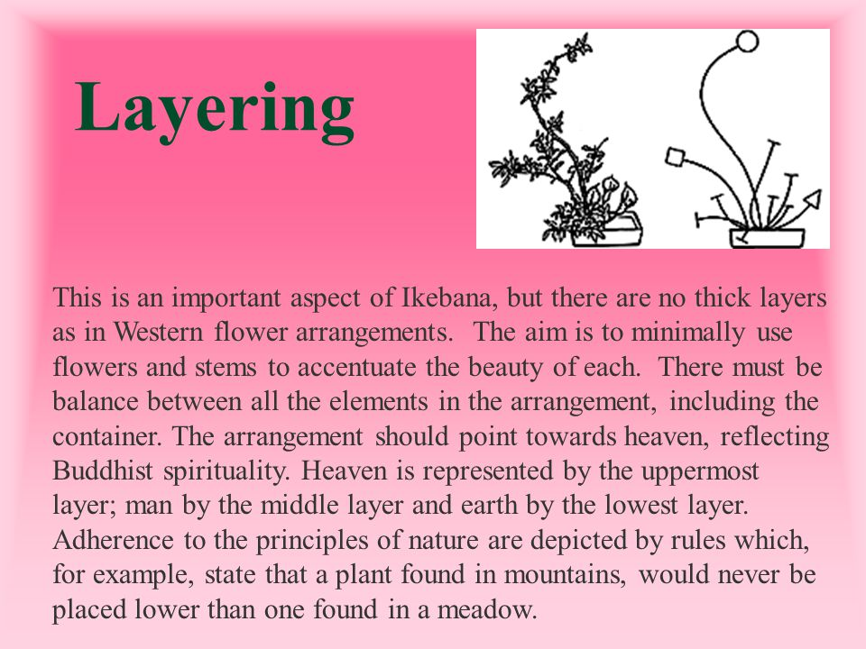 Layering This is an important aspect of Ikebana, but there are no thick layers as in Western flower arrangements. The aim is to minimally use flowers