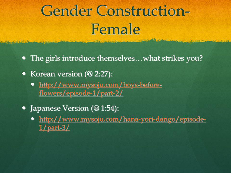 Gender Construction- Female The girls introduce themselves…what strikes you.