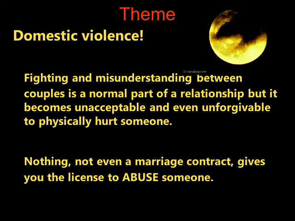 Theme Domestic violence.