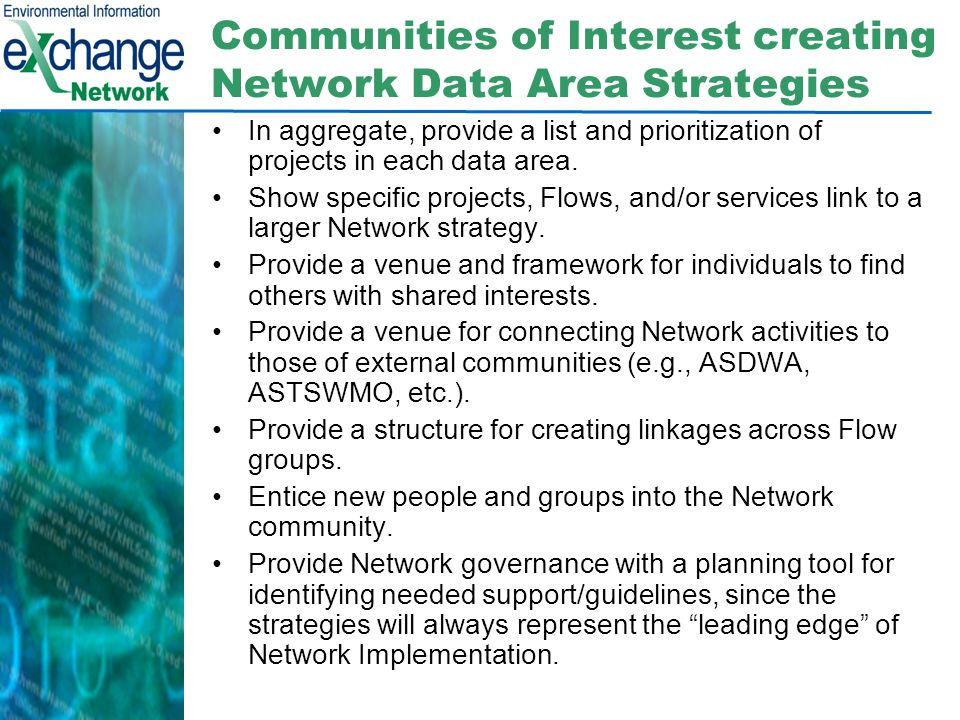 Communities of Interest creating Network Data Area Strategies In aggregate, provide a list and prioritization of projects in each data area.